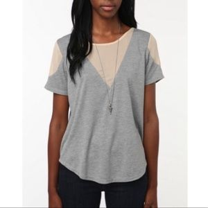 URBAN OUTFITTERS Gray w Cream Shoulders Soft Tee